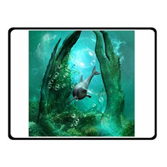 Wonderful Dolphin Double Sided Fleece Blanket (small)  by FantasyWorld7