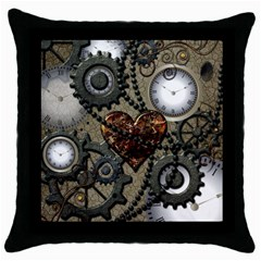 Steampunk With Heart Throw Pillow Cases (black) by FantasyWorld7