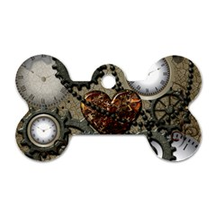 Steampunk With Heart Dog Tag Bone (two Sides) by FantasyWorld7