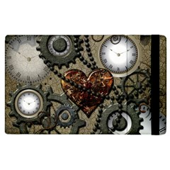 Steampunk With Heart Apple Ipad 2 Flip Case by FantasyWorld7