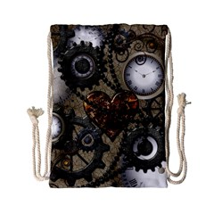 Steampunk With Heart Drawstring Bag (small) by FantasyWorld7