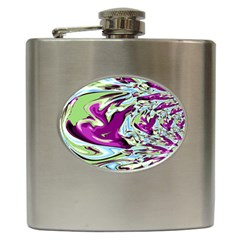 Purple, Green, And Blue Abstract Hip Flask (6 Oz) by digitaldivadesigns