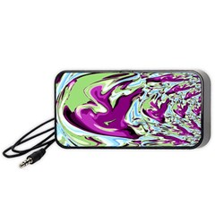 Purple, Green, And Blue Abstract Portable Speaker (black)  by digitaldivadesigns