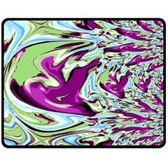 Purple, Green, And Blue Abstract Double Sided Fleece Blanket (medium)  by digitaldivadesigns