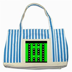 Florescent Green Polka Dot  Striped Blue Tote Bag  by OCDesignss