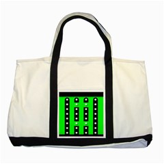 Florescent Green Polka Dot  Two Tone Tote Bag
