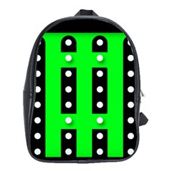 Florescent Green Polka Dot  School Bags(large)