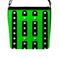 Florescent Green Polka Dot  Flap Messenger Bag (l)