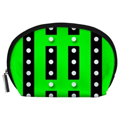 Florescent Green Polka Dot  Accessory Pouches (large)  by OCDesignss