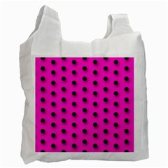 Hot Pink Black Polka Dot  Recycle Bag (one Side)