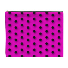 Hot Pink Black Polka Dot  Cosmetic Bag (xl)