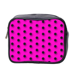 Hot Pink Black Polka Dot  Mini Toiletries Bag 2 Side