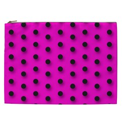 Hot Pink Black Polka Dot  Cosmetic Bag (xxl)  by OCDesignss