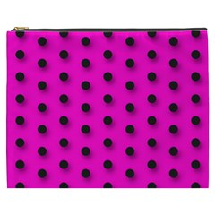 Hot Pink Black Polka Dot  Cosmetic Bag (xxxl)