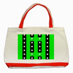 Florescent Green Black Polka Dot  Classic Tote Bag (red)
