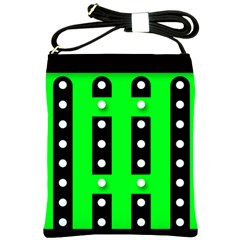 Florescent Green Black Polka-dot  Shoulder Sling Bags