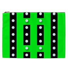 Florescent Green Black Polka Dot  Cosmetic Bag (xxl)  by OCDesignss