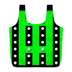 Florescent Green Black Polka Dot  Full Print Recycle Bags (l)