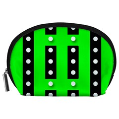 Florescent Green Black Polka Dot  Accessory Pouches (large)