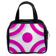 Florescent Pink White Abstract  Classic Handbags (2 Sides)