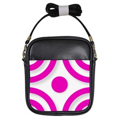 Florescent Pink White Abstract  Girls Sling Bags