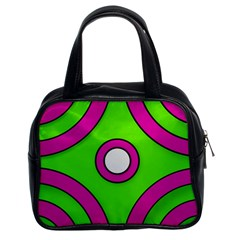 Neon Green Black Pink Abstract  Classic Handbags (2 Sides) by OCDesignss