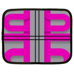 Florescent Pink Grey Abstract  Netbook Case (large)