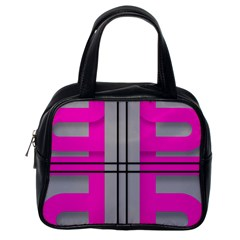 Florescent Pink Grey Abstract  Classic Handbags (one Side)