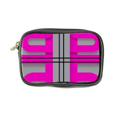 Florescent Pink Grey Abstract  Coin Purse