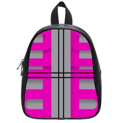 Florescent Pink Grey Abstract  School Bags (small)