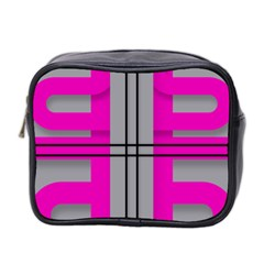 Florescent Pink Grey Abstract  Mini Toiletries Bag 2 Side