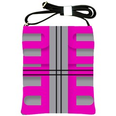Florescent Pink Grey Abstract  Shoulder Sling Bags by OCDesignss