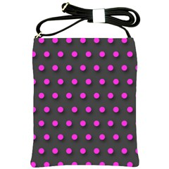 Pink Grey Polka Dot  Shoulder Sling Bags by OCDesignss