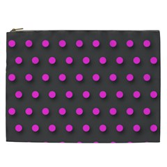 Pink Grey Polka Dot  Cosmetic Bag (xxl)  by OCDesignss
