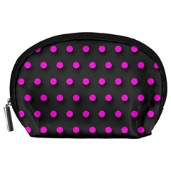 Pink Grey Polka Dot  Accessory Pouches (large)