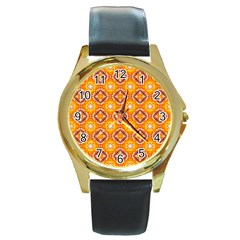 Cute Pattern Gifts Round Gold Metal Watches by creativemom