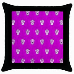 Skull Pattern Hot Pink Throw Pillow Cases (black) by MoreColorsinLife