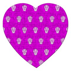 Skull Pattern Hot Pink Jigsaw Puzzle (heart) by MoreColorsinLife