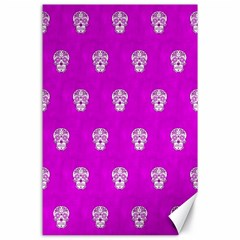 Skull Pattern Hot Pink Canvas 24  X 36  by MoreColorsinLife