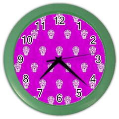 Skull Pattern Hot Pink Color Wall Clocks by MoreColorsinLife