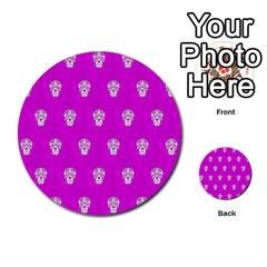 Skull Pattern Hot Pink Multi Purpose Cards (round)  by MoreColorsinLife