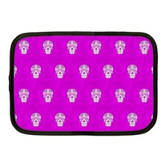 Skull Pattern Hot Pink Netbook Case (medium)  by MoreColorsinLife