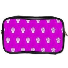 Skull Pattern Hot Pink Toiletries Bags by MoreColorsinLife