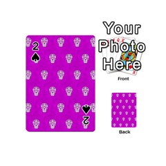Skull Pattern Hot Pink Playing Cards 54 (mini)  by MoreColorsinLife