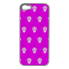 Skull Pattern Hot Pink Apple Iphone 5 Case (silver) by MoreColorsinLife