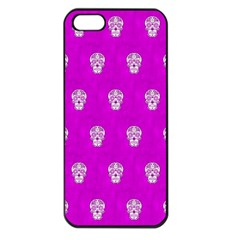 Skull Pattern Hot Pink Apple Iphone 5 Seamless Case (black) by MoreColorsinLife