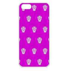 Skull Pattern Hot Pink Apple Iphone 5 Seamless Case (white) by MoreColorsinLife