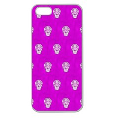Skull Pattern Hot Pink Apple Seamless Iphone 5 Case (clear) by MoreColorsinLife