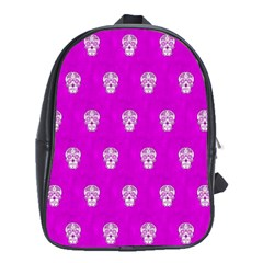 Skull Pattern Hot Pink School Bags (xl)  by MoreColorsinLife