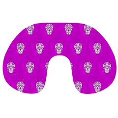Skull Pattern Hot Pink Travel Neck Pillows by MoreColorsinLife